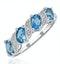 Blue Topaz 0.98CT And Diamond 9K White Gold Ring - image 1