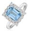 Blue Topaz 8 x 6mm and Diamond 9K White Gold Ring - image 1