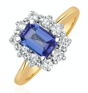 Tanzanite 7 x 5mm And Diamond 0.50ct 18K Gold Ring  FET24-V