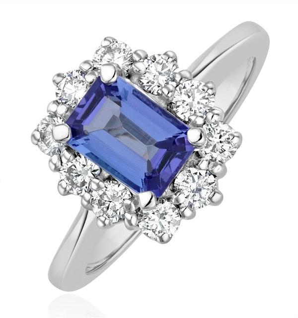 Tanzanite 7 x 5mm And 0.50ct Diamond 18K White Gold Ring - image 1