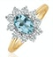 Aquamarine 0.70ct and Diamond 0.50ct 18K Gold Ring - image 1