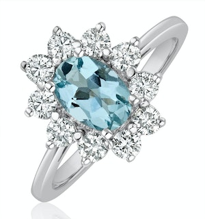 Aquamarine 0.70ct and Diamond 0.50ct 18K White Gold Ring  FET25-CY