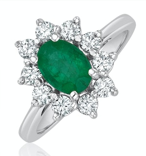 Emerald 0.70ct And Diamond 18K White Gold Ring  FET25-GY