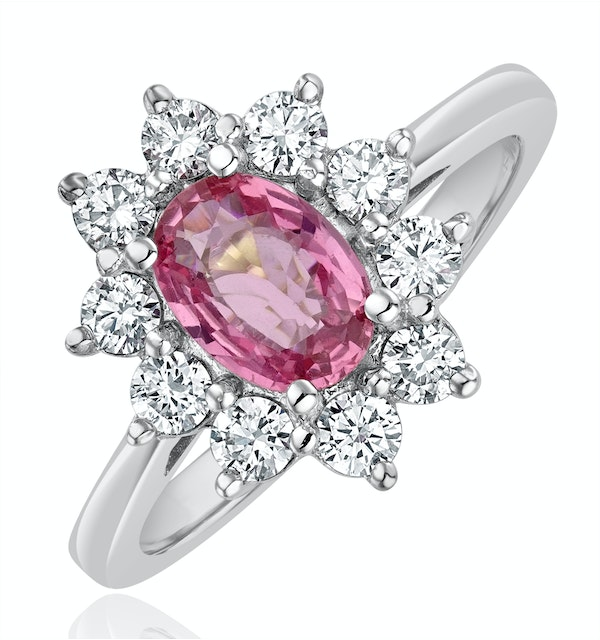 18K White Gold 0.50ct Diamond and 1.05ct Pink Sapphire Ring - image 1