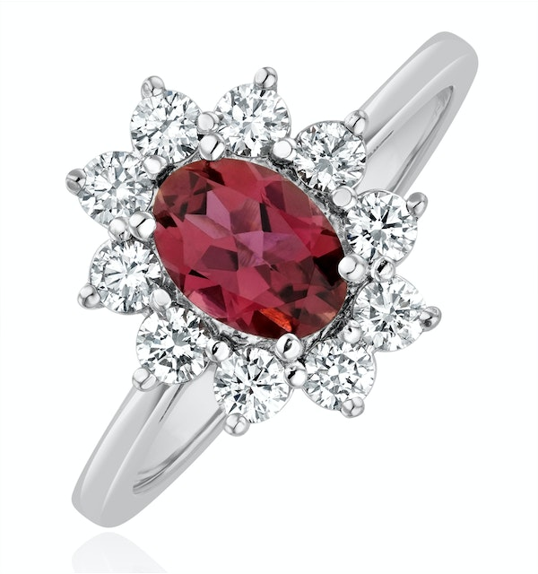 Pink Tourmaline 0.80CT and Diamond Halo Ring 18K White Gold - FET25 - image 1