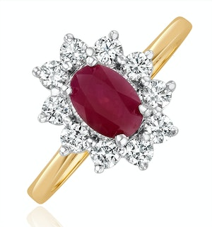 Ruby 1.15ct And Diamond 0.50ct 18K Gold Ring  FET25-T