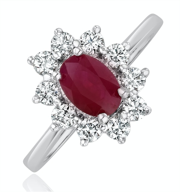 Ruby 1.15ct And Diamond 0.50ct 18K White Gold Ring - image 1