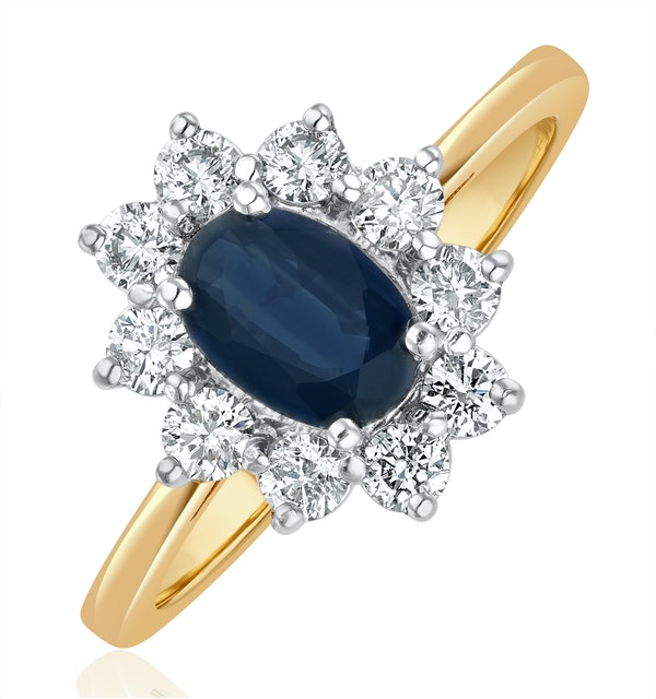 Sapphire 0.80ct And Diamond 0.50ct 18K Gold Ring - image 1