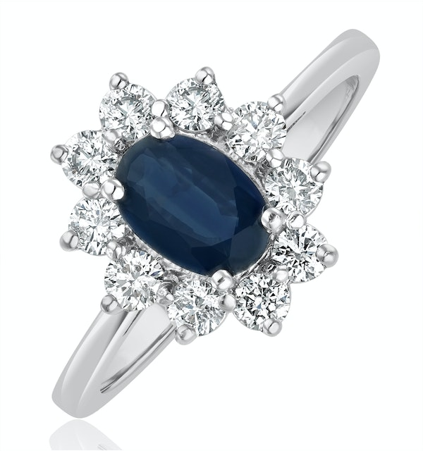 Sapphire 0.80ct And Diamond 0.50ct 18K White Gold Ring - image 1