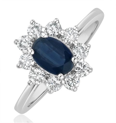 Sapphire 0.80ct And Diamond 0.50ct 18K White Gold Ring - image 1