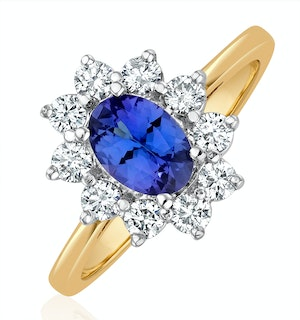 Tanzanite 7 x 5mm And Diamond 0.50ct 18K Gold Ring