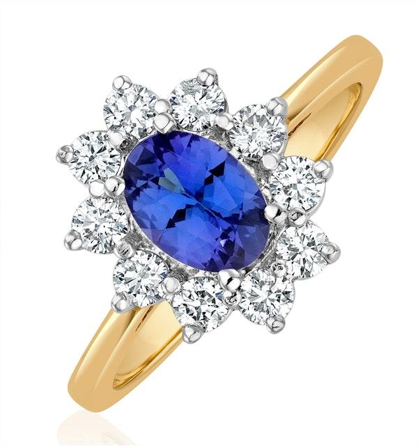 Tanzanite 7 x 5mm And Diamond 0.50ct 18K Gold Ring - image 1