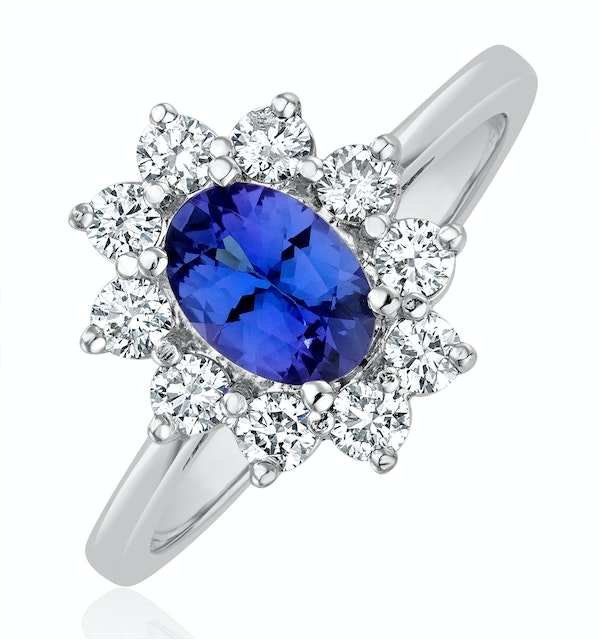 Tanzanite 7 x 5mm And 0.50ct Diamond 18K White Gold Ring  FET25-VY - image 1