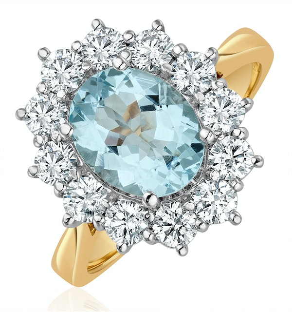 Aquamarine 1.7ct and Diamond 1.00ct Cluster Ring in 18K Gold - image 1