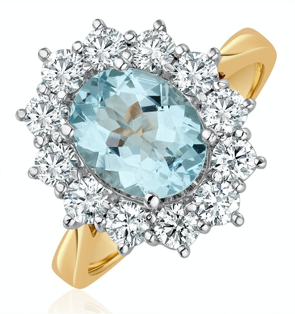 Aquamarine 1.7ct and Lab Diamond 1.00ct Cluster Ring in 18K Gold - image 1