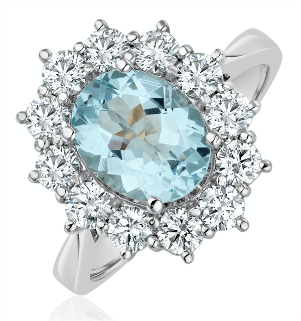 Aquamarine 1.7ct and Diamond 1.00ct Cluster Ring in 18K White Gold - image 1