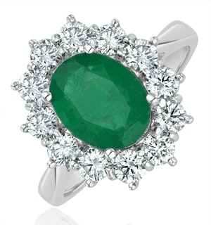 Emerald 1.95CT And Diamond 18K White Gold Ring