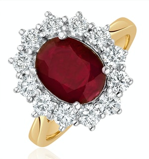 Ruby 2.40ct And Diamond 1.00ct Cluster Ring in 18K Gold