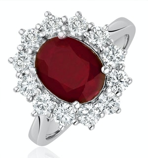 Ruby 2.40ct And Diamond 1.00ct Cluster Ring Set in Platinum