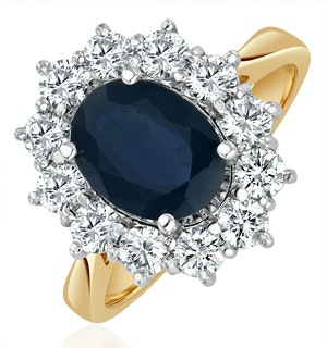 Sapphire 2.3ct And Lab Diamond 1ct Cluster Ring in 18K Gold