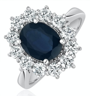 Sapphire 2.3ct And Lab Diamond 1ct Cluster Ring in 18K White Gold
