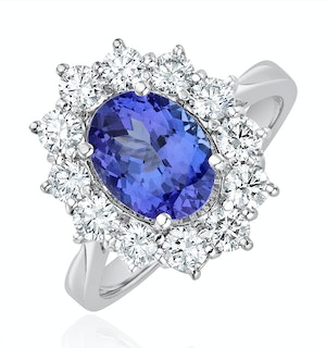 Platinum Tanzanite 9 x 7mm And 1.00ct Diamond Ring