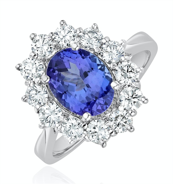 Tanzanite 1.7ct And Diamond 1ct Cluster Ring in 18K White Gold - image 1