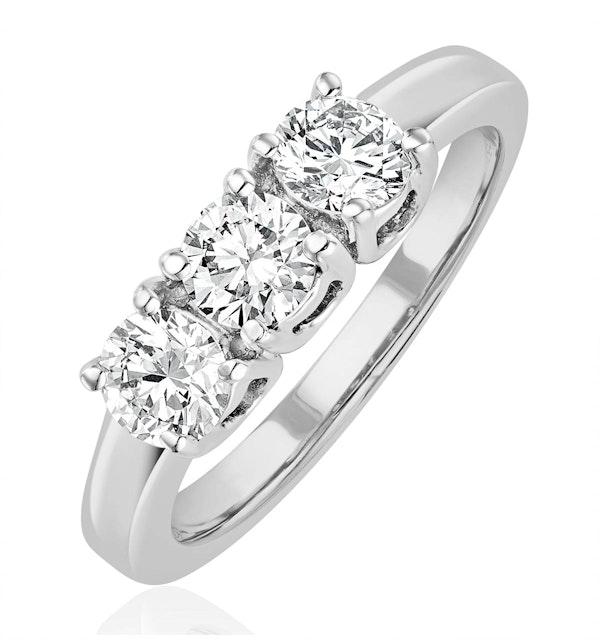 Chloe 18K White Gold 3 Stone Diamond Ring 1.00CT H/SI - image 1