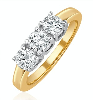 Chloe 18K Gold 3 Stone Diamond Ring 1.00CT