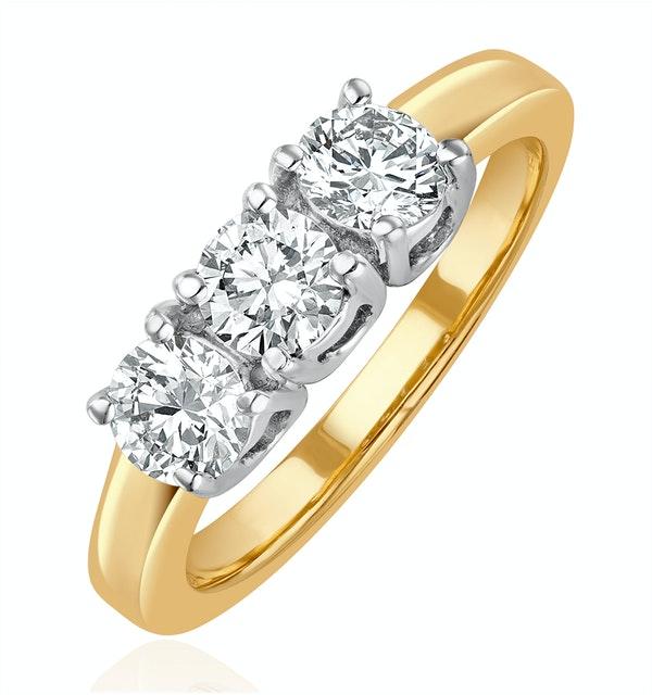 Chloe 3 Stone Trilogy Lab Diamond Ring 1.00CT H/Si in 18K Gold - image 1