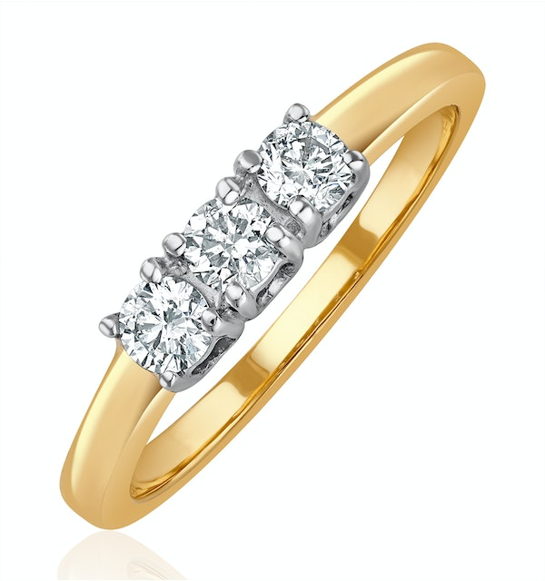 Chloe 18K Gold 3 Stone Diamond Ring 0.30CT G/VS - image 1