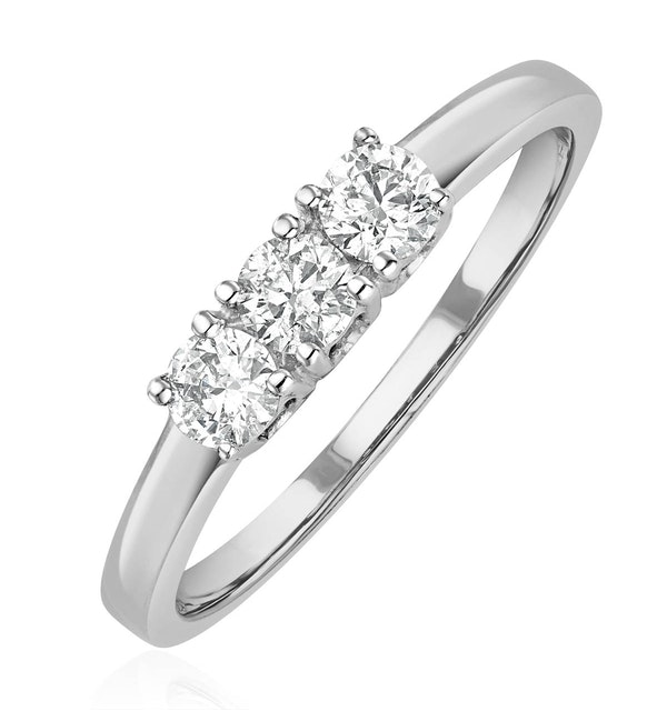 Chloe 18K White Gold 3 Stone Diamond Ring 0.50CT - image 1