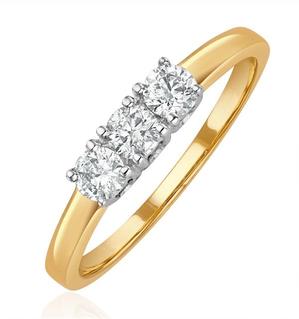 Chloe 18K Gold 3 Stone Diamond Ring 0.50CT - image 1