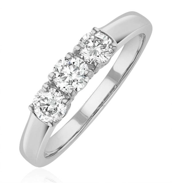 Chloe 18K White Gold 3 Stone Diamond Ring 0.75CT - image 1