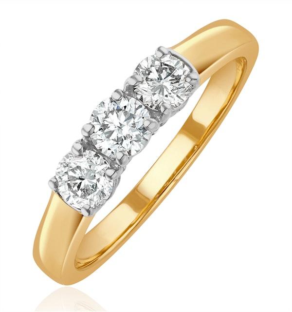 Chloe 3 Stone Trilogy Lab Diamond Ring 0.75CT G/Vs in 18K Gold - image 1