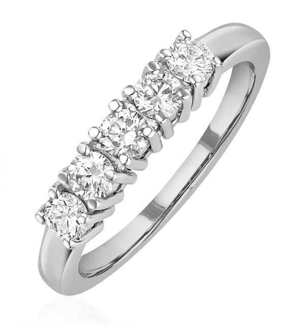 Chloe 18K White Gold 5 Stone Diamond Eternity Ring 0.50CT H/SI - image 1