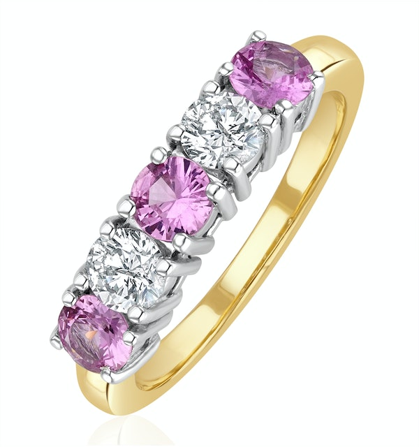 Pink Sapphire 0.90ct and Diamond Ring 0.40ct 18K Gold Ft26 - image 1