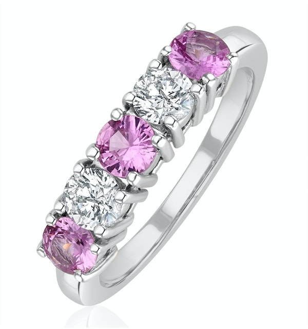 Pink Sapphire 0.90ct and Diamond Ring 0.40ct 18K White Gold Ft26 - image 1