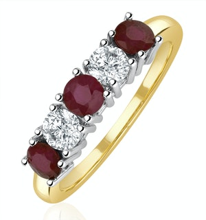 Ruby 0.75CT and Diamond Ring 0.40CT 18K Gold FT26