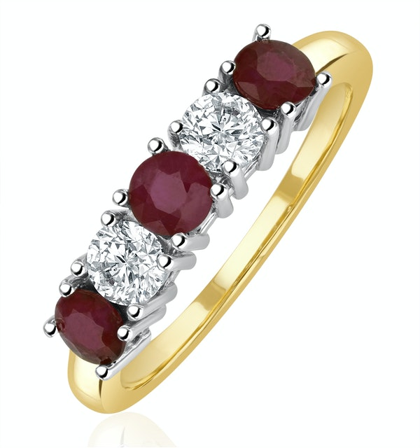 Ruby 0.75CT and Diamond Ring 0.40CT 18K Gold FT26 - image 1