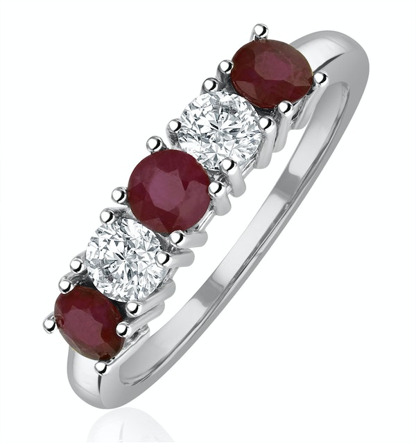 Ruby 0.75CT and Diamond Ring 0.40CT 18K White Gold FT26 - image 1