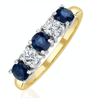 Sapphire 0.90CT and Diamond Ring 0.40CT 18K Gold FT26