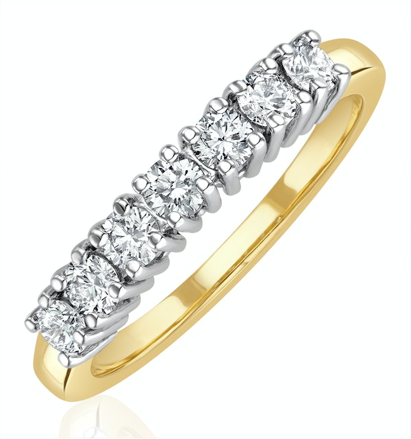 Chloe 18K Gold 7 Stone Diamond Eternity Ring 0.50CT H/SI - image 1