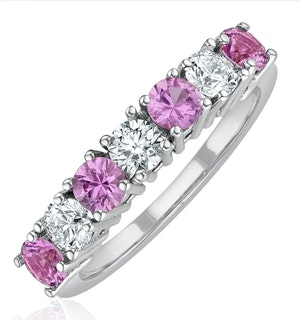 Pink Sapphire 1.15ct and Diamond Ring 0.50ct 18K White Gold Ft32