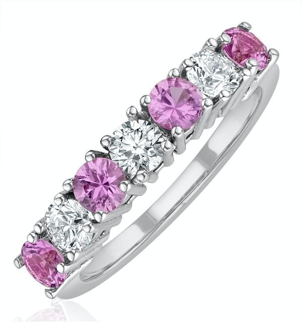 Pink Sapphire 1.15ct and Diamond Ring 0.50ct 18K White Gold Ft32 - image 1