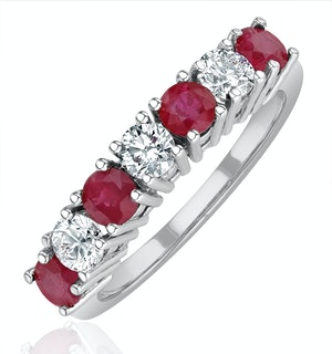 Ruby 1CT and Diamond Ring 0.50CT 18K White Gold FT32