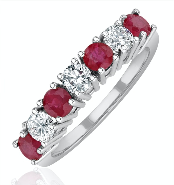 Ruby 1CT and Diamond Ring 0.50CT 18K White Gold FT32 - image 1