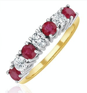 Ruby 1CT and Diamond Ring 0.50CT 18K Gold FT32
