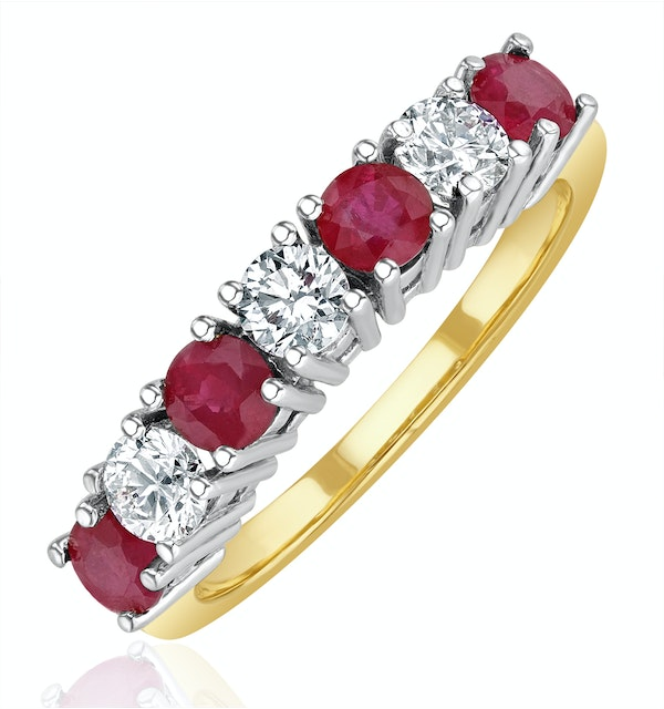 Ruby 1CT and Diamond Ring 0.50CT 18K Gold FT32 - image 1