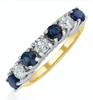 Sapphire 1CT and Diamond Ring 0.50CT 18K Gold FT32
